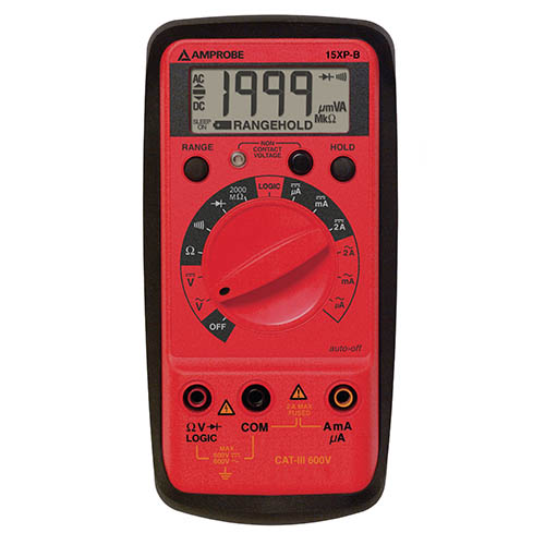Amprobe 15XP-B Compact Digital Multimeter with Non-Contact Voltage Detector and Logic Test