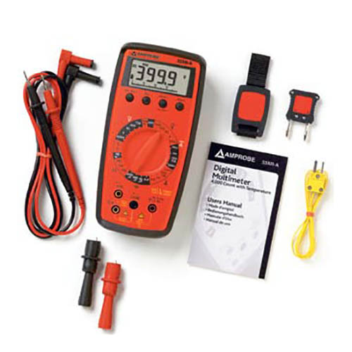 Amprobe 33XR-A Manual Ranging Digital Multimeter, 1000VDC/750VAC with Temperature and Capacitance (With Accessories)