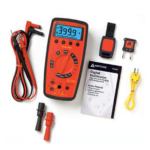 Amprobe 34XR-A True RMS Autoranging Digital Multimeter with Temperature and Backlit Display (With Accessories)