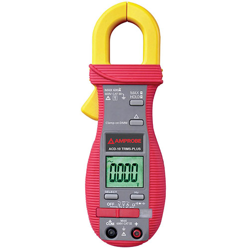 Amprobe ACD-10 TRMS-PLUS 600V/600A TRMS AC Clamp-on Multimeter with Capacitance and Frequency