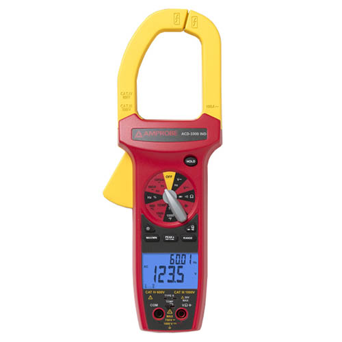 Amprobe ACD-3300 IND 750VAC/1000VDC/1000A TRMS Industrial Clamp Meter with Temperature, CAT IV Rated