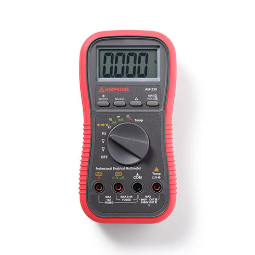 Amprobe AM-250 True-RMS Auto/Manual Professional Electrical/HVAC Multimeter, 13 Features AC/DC 1000V