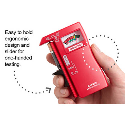 Amprobe BAT-250 Hand-Held Battery Capacity Tester with V-Shaped Side Cradle (Front)