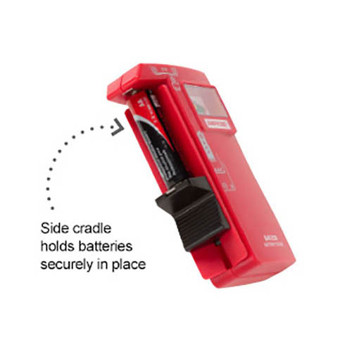Amprobe BAT-250 Hand-Held Battery Capacity Tester with V-Shaped Side Cradle (Side)