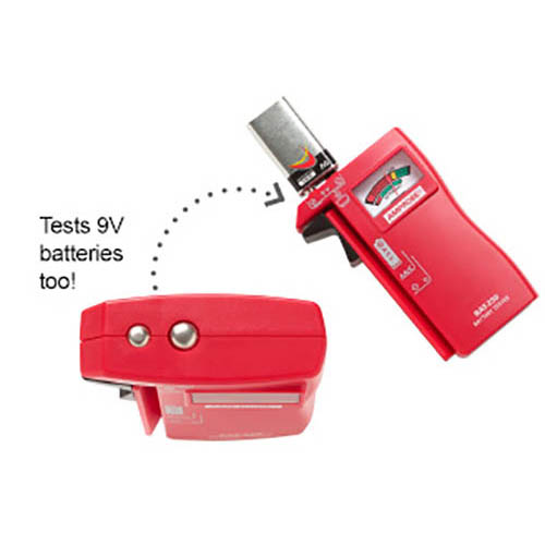 Amprobe BAT-250 Hand-Held Battery Capacity Tester with V-Shaped Side Cradle (Top)