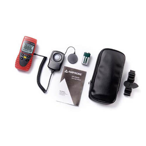 Amprobe LM-200LED Professional LED Light Meter with Sensor Cap and Carry Case (Angle)