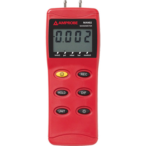Amprobe MAN02-A HVAC/R Differential Pressure Manometer up to 2 psi w/ RS232 Port & Connection Hoses