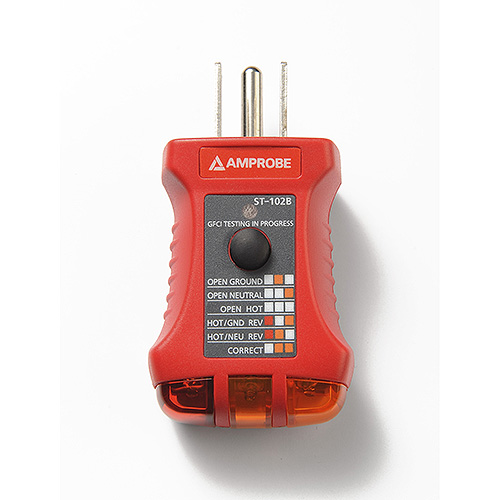 Electrical Receptacle Tester : Amprobe st b ac electrical receptacle socket tester