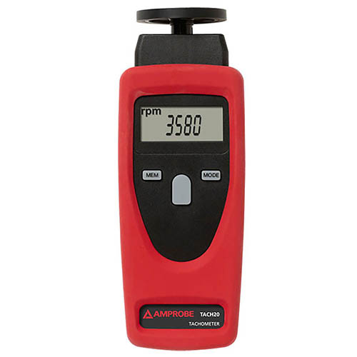 Amprobe TACH20 Contact / Non-Contact Tachometer, Rotational and Surface Speed with Digital Display