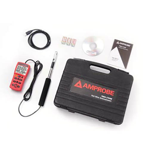 Amprobe TMA-21HW Hotwire Anemometer with Fast Response Telescopic Probe, Temperature and Humidity (With Accessories)
