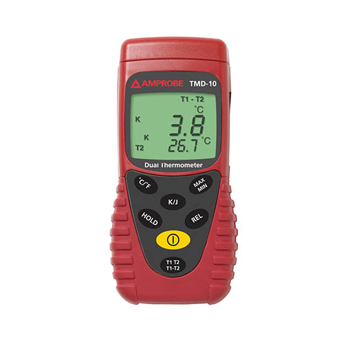 Amprobe TMD-10 K/J Type Dual Temperature Meter, with K Thermocouples and Carrying Case