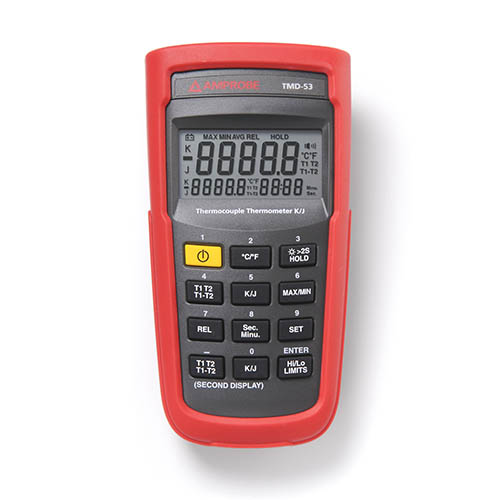 Amprobe TMD-53 K/J Type Dual Input Thermocouple Thermometer with TIME Setting, REL Setting