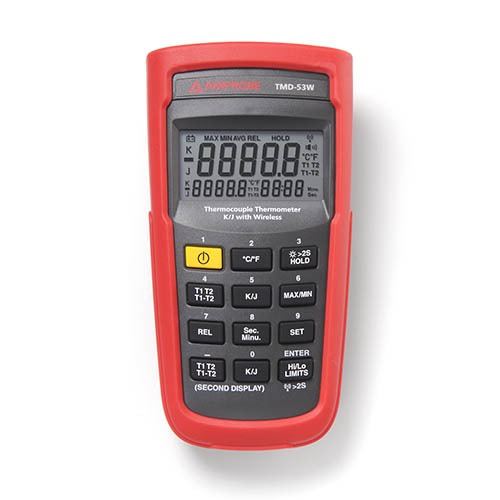 Amprobe TMD-53W K/J Type Dual Input Thermocouple Thermometer, Wireless w/ TIME Setting, REL Setting