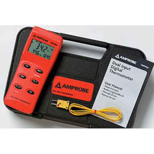Amprobe TMD90A K/J/T/R/S/E Type Digital Thermometer, High Accuracy with RS232 Output and Deluxe Case (With Accessories)