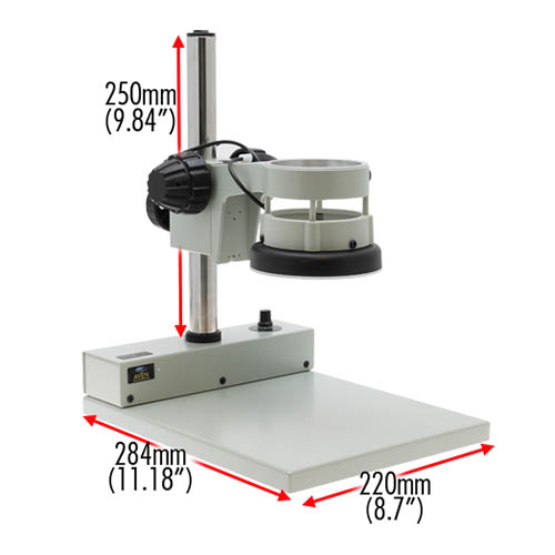 Aven Tools 26800B-339 DSZV-44 Trinocular Microscope w/ Mighty Cam Eidos 2M Integrated Camera/Monitor (View of Stand with Labelled Dimensions)