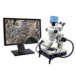 Click here for a larger image - Aven Tools 26800B-387 Gemscope 100 Stereo Zoom Trinocular Body w/10x-44x Magnification, 1080P HD Camera