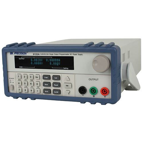 BK Precision 9122A Programmable Single-Output DC Power Supply with RS232, 60V/2.5A, 120VAC Line Input (Angle)