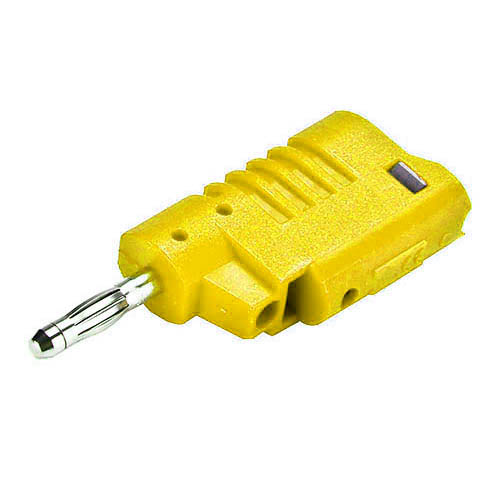 Cal Test CT2013-4 4mm DIY stacking banana plug, solderless screw connection, Yellow, Qty 10