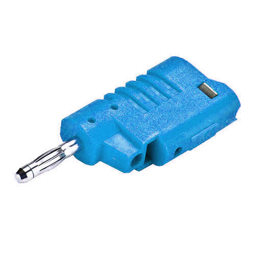 Cal Test CT2013-6 4mm DIY stacking banana plug, solderless screw connection, Blue, Qty 10