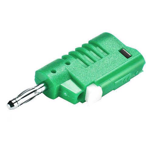 Cal Test CT2016-5 4mm DIY straight, stacking banana plug, solderless spring clamp , Green, Qty 10