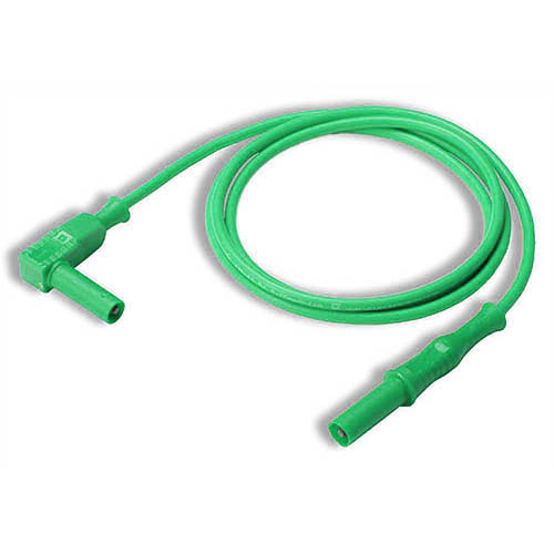 Cal Test CT2176-100-5 4mm Straight to Right-Angle Banana Plug Test Lead, 100 cm, Green, Qty 10