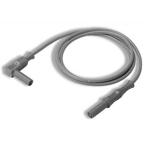 Cal Test CT2176-100-9 4mm Straight to Right-Angle Banana Plug Test Lead, 100 cm, White, Qty 10
