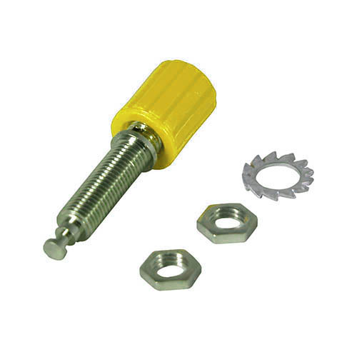Cal Test CT2234-4 4mm binding post. Body of post grounds directly to mounting panel, Yellow, Qty 50