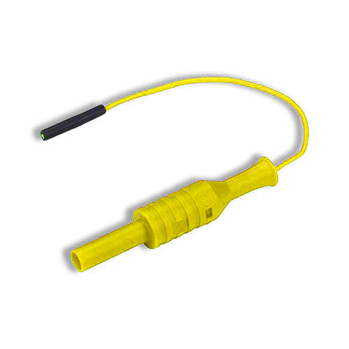 Cal Test CT2887-10-4 Individual lead 0.8mm female jack to 4mm banana jack, 10 cm, Yellow, Qty 10