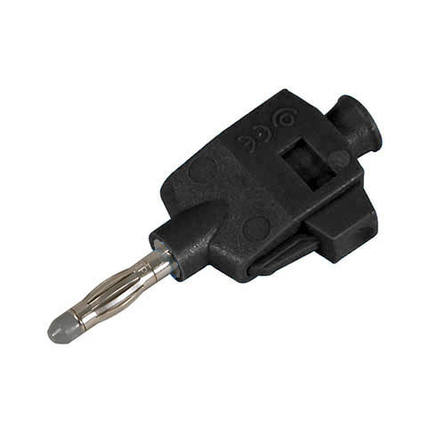 Cal Test CT3249-0 DIY Quick Connect solderless straight banana plug, Black, Qty 10