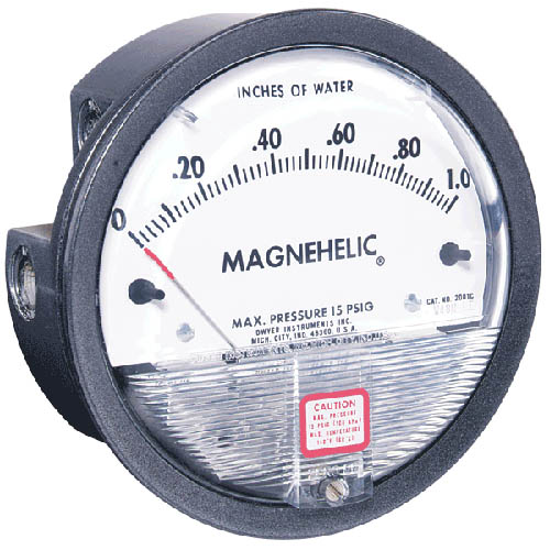 Dwyer 2001AV Magnehelic Differential Pressure Gauge, Dual Scale, 0-1.0
