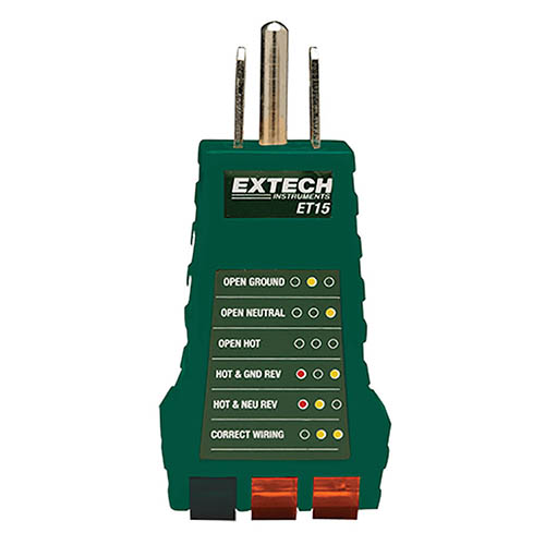 Electrical Plug Tester : Extech et receptacle tester for wire receptacles at