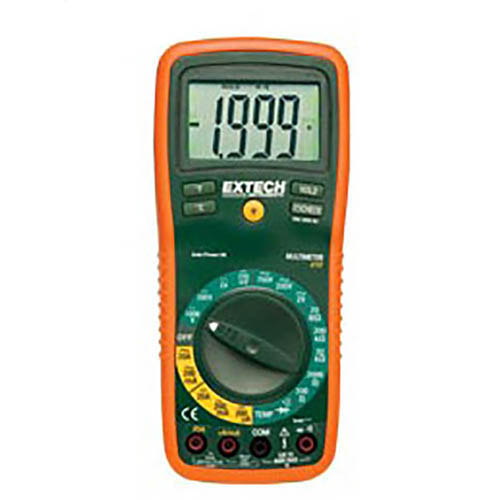 Extech EX410 Manual-Ranging Digital Multimeter 750VAC/1000VDC, 20A, with Large Digit LCD Display