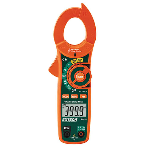 Extech MA410 AC Current Clamp Meter 600VAC/DC, 400AAC & Non-Contact Voltage Detector