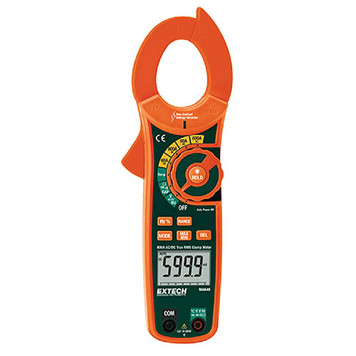 Extech MA640 True-RMS AC/DC Current Clamp Meter 600VAC/DC, 600AAC/DC & Non-Contact Voltage Detector