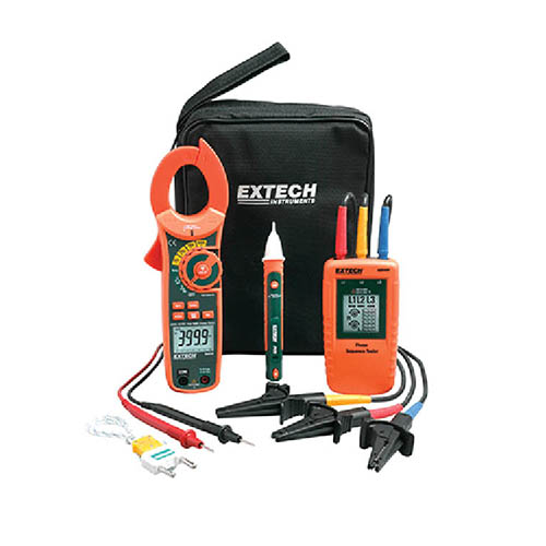 Extech MA640-K True-RMS AC 3-Phase Rotation Tester/Clamp Meter Test Kit & CAT IV Voltage Detector