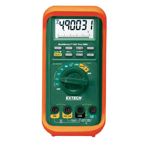 Extech MM560A True-RMS Multimeter, 1000V, 10A, w/50000/500000 Count LCD