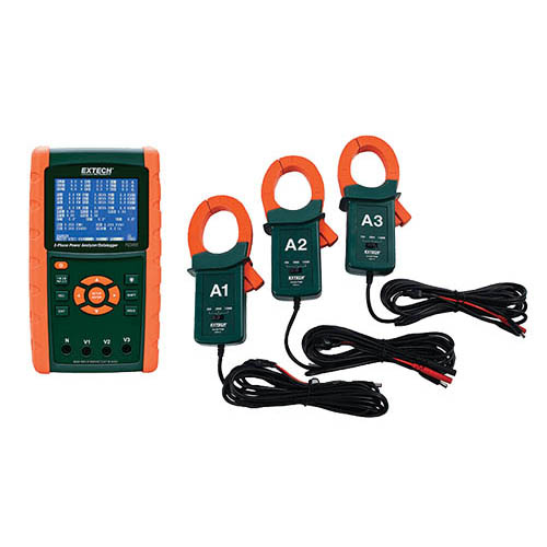 Extech PQ3450-12-NIST 1200A 3-Phase Power Analyzer Kit  w/ 3 - 1200A CT Probes, and NIST Calibration