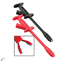 Click for larger image of the Extech TL740  Industrial Plunger Style Test Clip Set. Spring loaded Clip with Steel Jaws