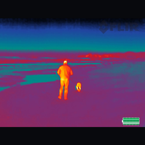FLIR SCOUT TK Pocket-Sized Monocular Thermal Handheld Camera, 160 x 120 VOx, 20° x 16° FOV, < 9 Hz (View of Man with Dog on Beach)