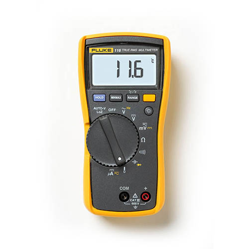 Fluke 116 True-RMS AC/DC HVAC Multimeter with Temperature and Microamp Measurements