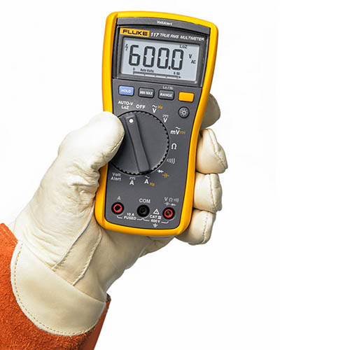Fluke 117 True-RMS AC/DC Electrician's Multimeter with Non-Contact Voltage Detection (In Hand)