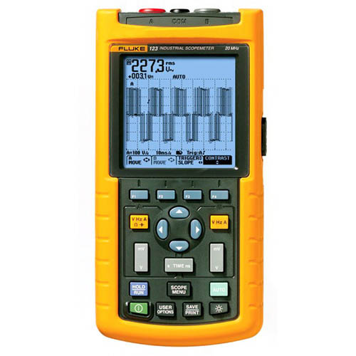 Fluke 123/003S *Factory Reconditioned* 20 MHz, 2 Ch, 25 MS/s, Industrial ScopeMeter with SCC120 Kit