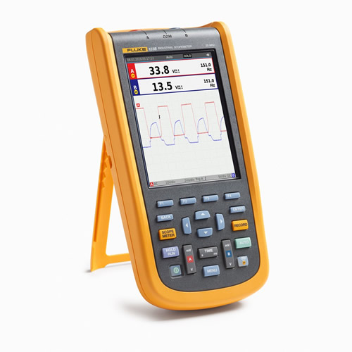 Fluke 123B/NA/S 20 MHz, 2-Channel, 40 MS/s Industrial ScopeMeter Hand-Held Oscilloscope, Accessories (On Stand)