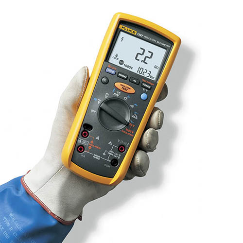 Fluke 1587 T True-RMS Megohmmeter/Insulation Resistance Tester and Multimeter with K-Type (In Hand)