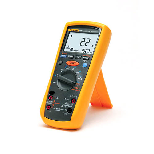 Fluke 1587 T True-RMS Megohmmeter/Insulation Resistance Tester and Multimeter with K-Type (On Stand)