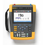 Click for larger image of the Fluke 190-102/AM 100 MHz, 2 Ch, 1.25 MS/s, ScopeMeter Oscilloscope with Built-in Digital Multimeter