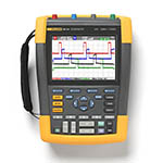 Click for larger image of the Fluke 190-104/AM 100 MHz, 4 Ch, 1.25 GS/s, ScopeMeter Oscilloscope with Built-in Digital Multimeter