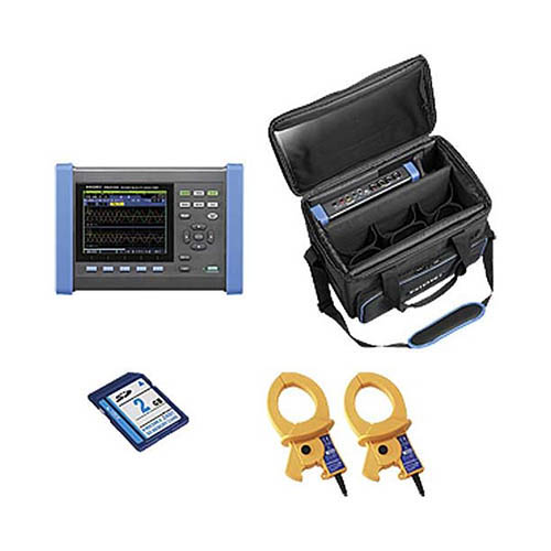 Hioki PQ3100-91 3-Phase 4-Wire Power Quality Analyzer with Two 600 A sensors and other accessories