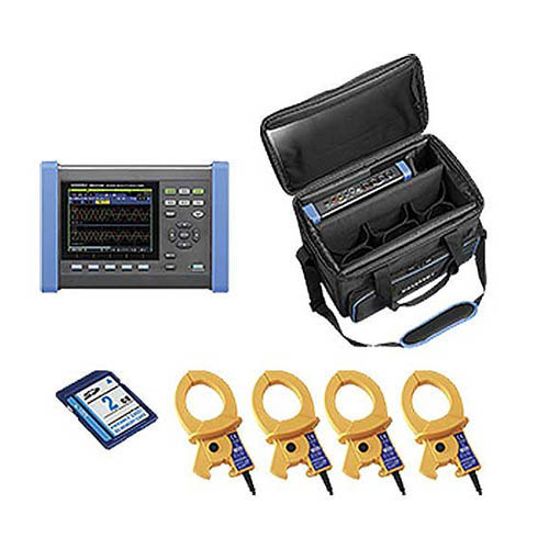 Hioki PQ3100-92 Power Quality Analyzer, 3-Phase 4-Wire with Four 600A sensors and accessories