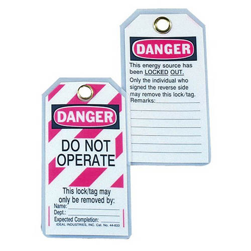 "IDEAL Electrical 44-833 ""Do Not Operate"" Heavy-Duty Laminated Lockout Tags w/Red Stripes (5)"